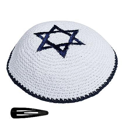 76e1ade1602 Star of David Knit Yarmulke Jewish Kippah and Clips Kipa Judaica Yamaka  Kippa Yamakah Magen Yarmulka Hat Men Or Kids Israel Jerudalem (Blue    White)  ...
