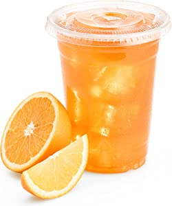 Green Direct 10 oz. Plastic Clear Cups With Flat Lids for Cold Drink / Bubble Boba / Iced Coffee / Tea / Smoothie Pack of 100