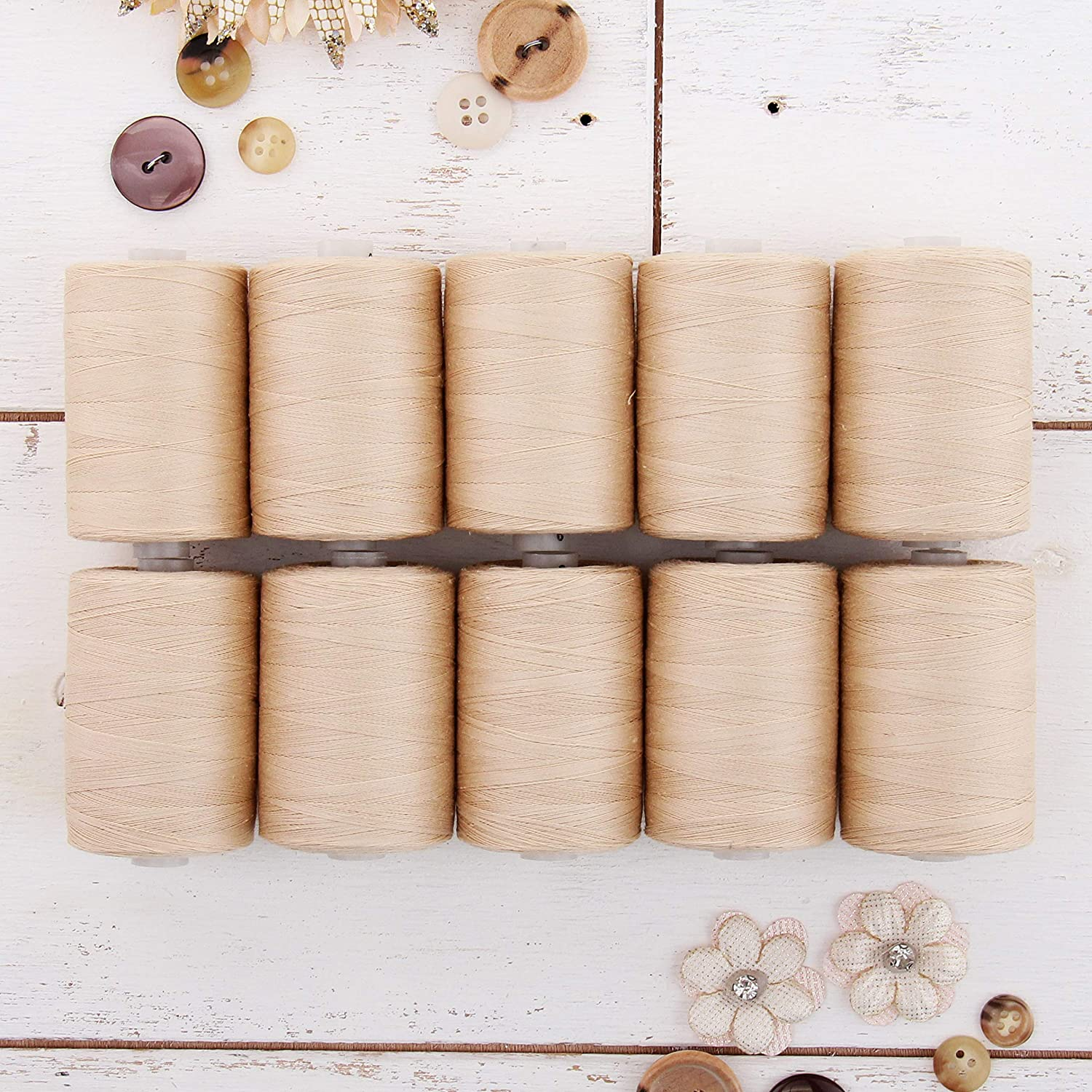 For Quilting /& Sewing 50//3 Weight 1100 Yards Spools Over 20 Other Sets Available 10 Beige Spools Long Staple /& Low Lint Threadart 100/% Cotton Thread Set 1000M