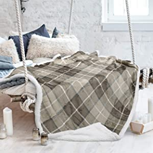 "Tirrinia Sherpa Blankets and Throws, Super Soft Warm Comfy, Checkered Blanket Winter Cabin Throw, Holiday Theme Blanket, 50"" x 60"" Beige Buffalo Plaid"