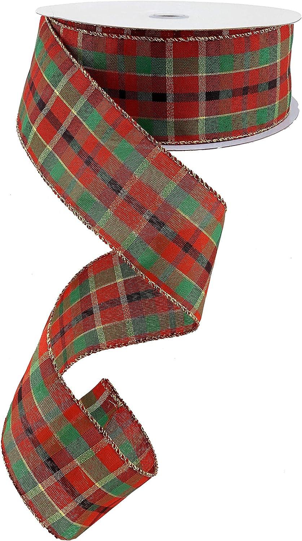 """2.5/"""" x 50 Yards Wired Christmas Ribbon Plaid Christmas Trees"""