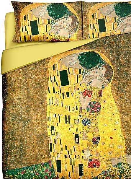 Tele D Autore Copripiumino.Tele D Autore Coordinato Copripiumino Klimt Il Bacio Oro