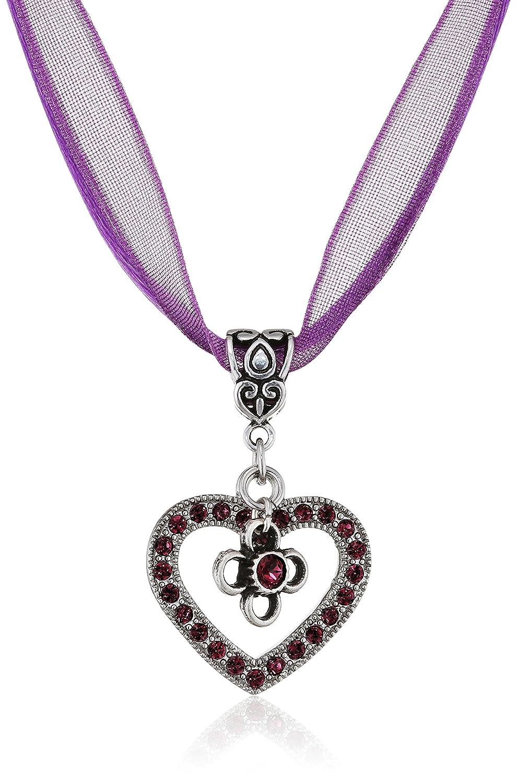 Lusana Damen Trachtenhalstuch Collier Organza mit Herz und Blüte Violett (Lilla 64) SL603