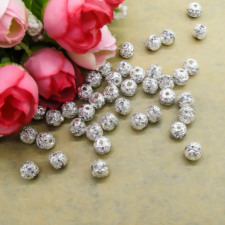 Toaob trasparente cristallo STRASS argento perle di metallo 6/mm distanziatore tondo confezione da pezzi