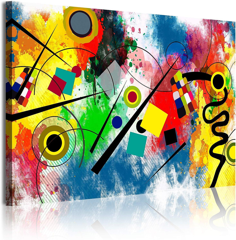 DekoArte 342 Cuadros Impresión de Imagen Artística Digitalizada, Lienzo Decorativo para Tu Salón o Dormitorio, Estilo Abstractos Moderno Arte Kandinsky Rojo Azul, multi amarillos, 1 pieza (120x80x3cm)
