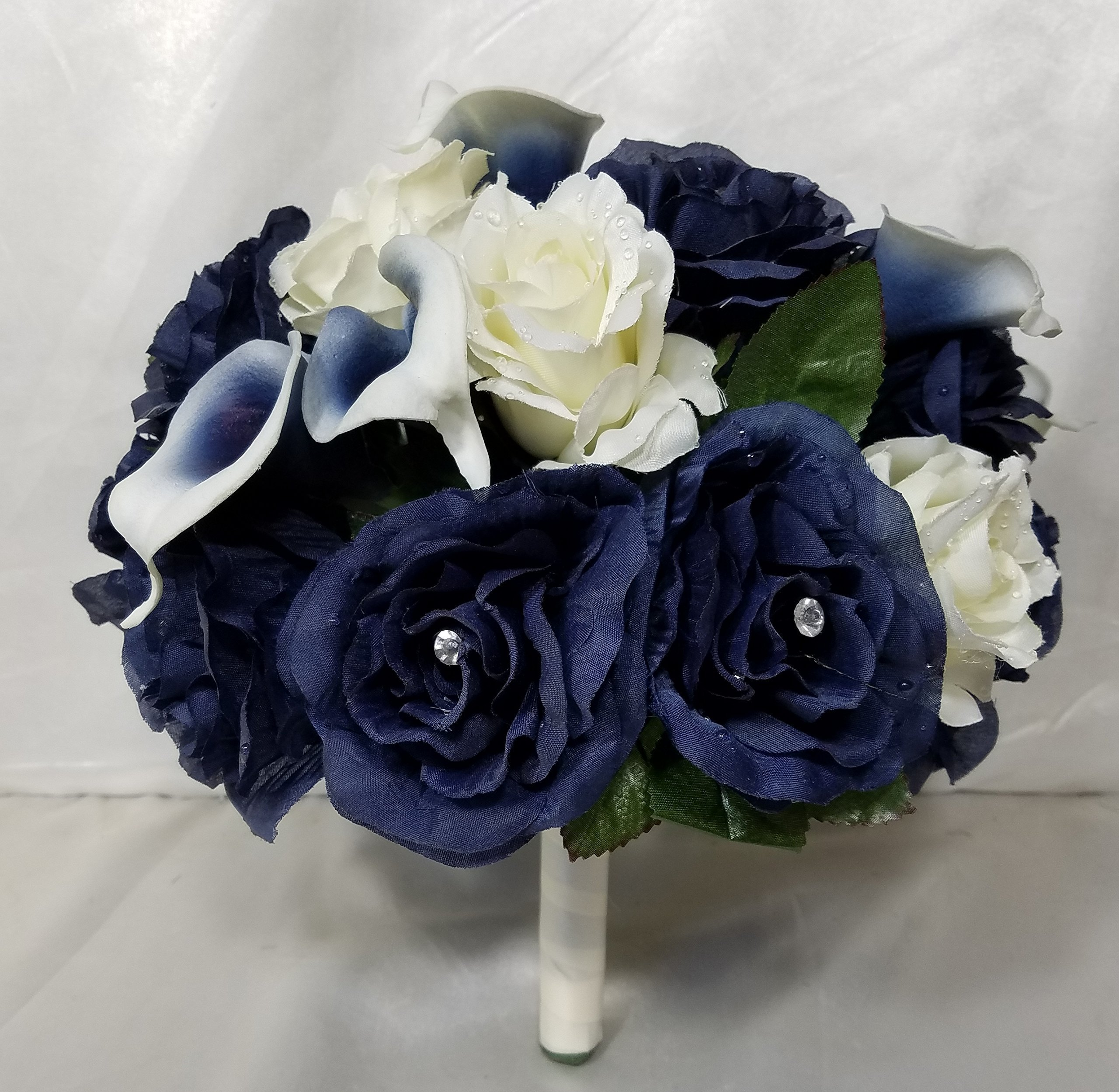 Navy Blue Ivory Rhinestone Rose Calla Lily Bridal Wedding Bouquet & Boutonniere