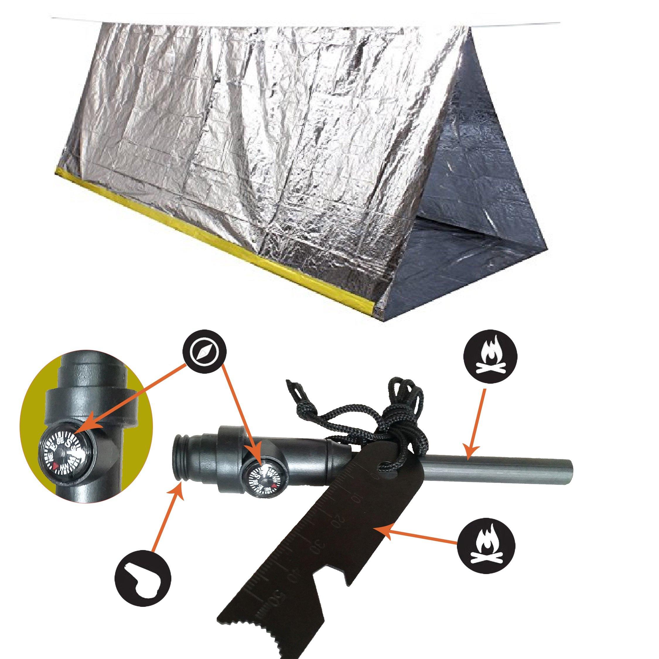 Emergency Mylar Tent u0026 Magnesium Fire Starter Kit | 8âu20ac™ X 5âu20ac™ Thermal Survival Shelter Tube Tent | Conserves Heat | Best Survival Gear  sc 1 st  eBay & Emergency Mylar Survival Shelter Tent With Survival Fire Starter ...