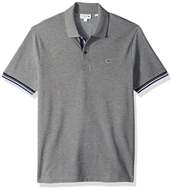 5297a48ff Lacoste Men s Short Sleeve Semi Fancy 2 Ply Pique Polo-Slim Fit at Amazon  Men s Clothing store