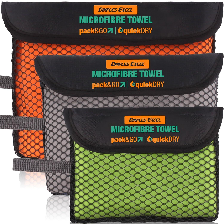 Dimples Excel Microfaser Handtuch für Bad, Bad, Strand - Kompakt, Extrem Leicht, Ultra-Saugfähig, Schnell Trocknend