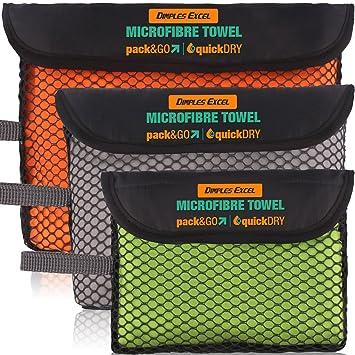 Dimples Excel Toalla de Microfibra para Baño, Baño, Playa - Compacto, Extremadamente Ligero