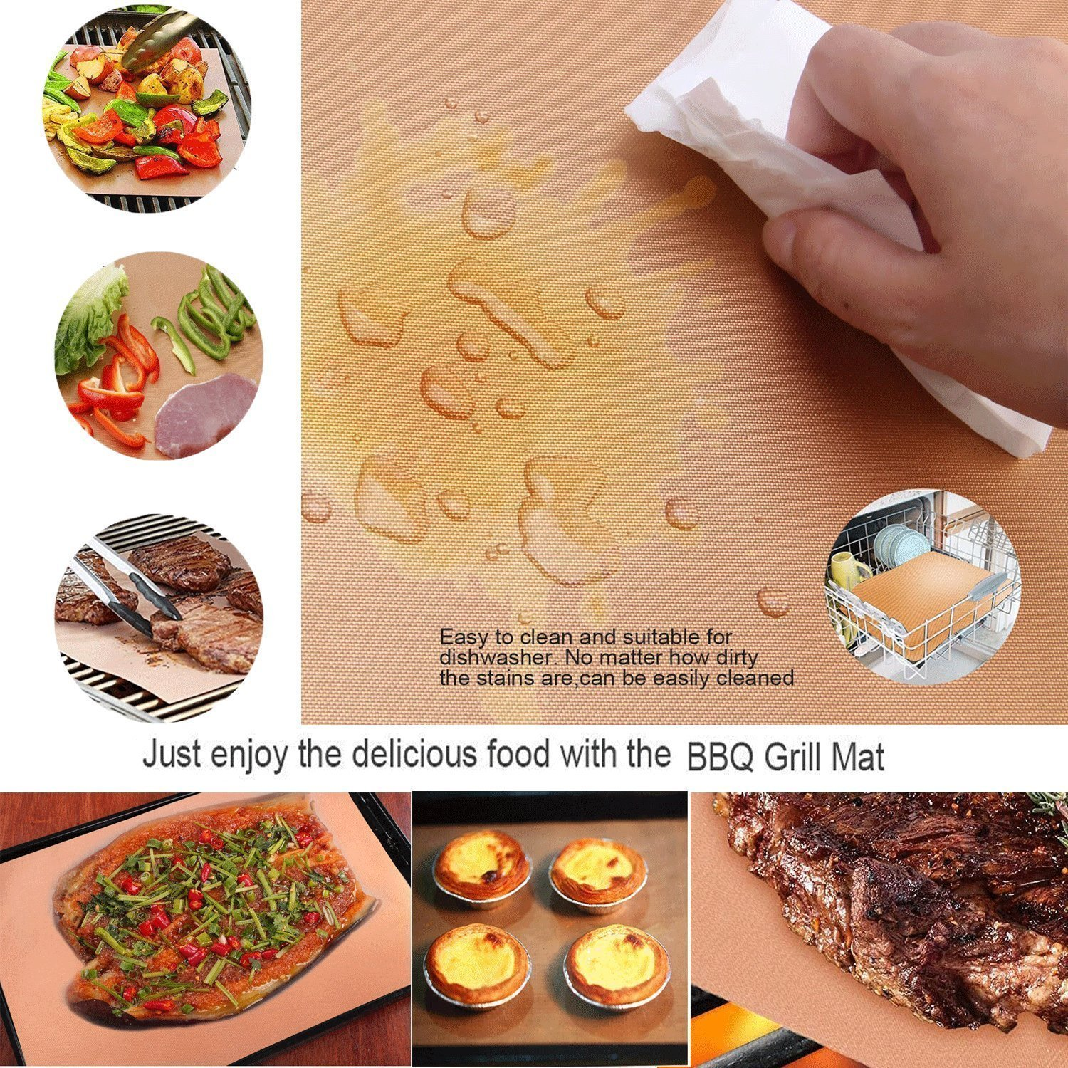 Bake Mat Set of 5 Non Stick BBQ Grill & Baking Mats - Reusable, Easy to Clean - PTFE Teflon Fiber Grill Roast Sheets for Gas, Charcoal, Electric Grill Gold (with 2 Brushes) by EEIEER (Image #6)