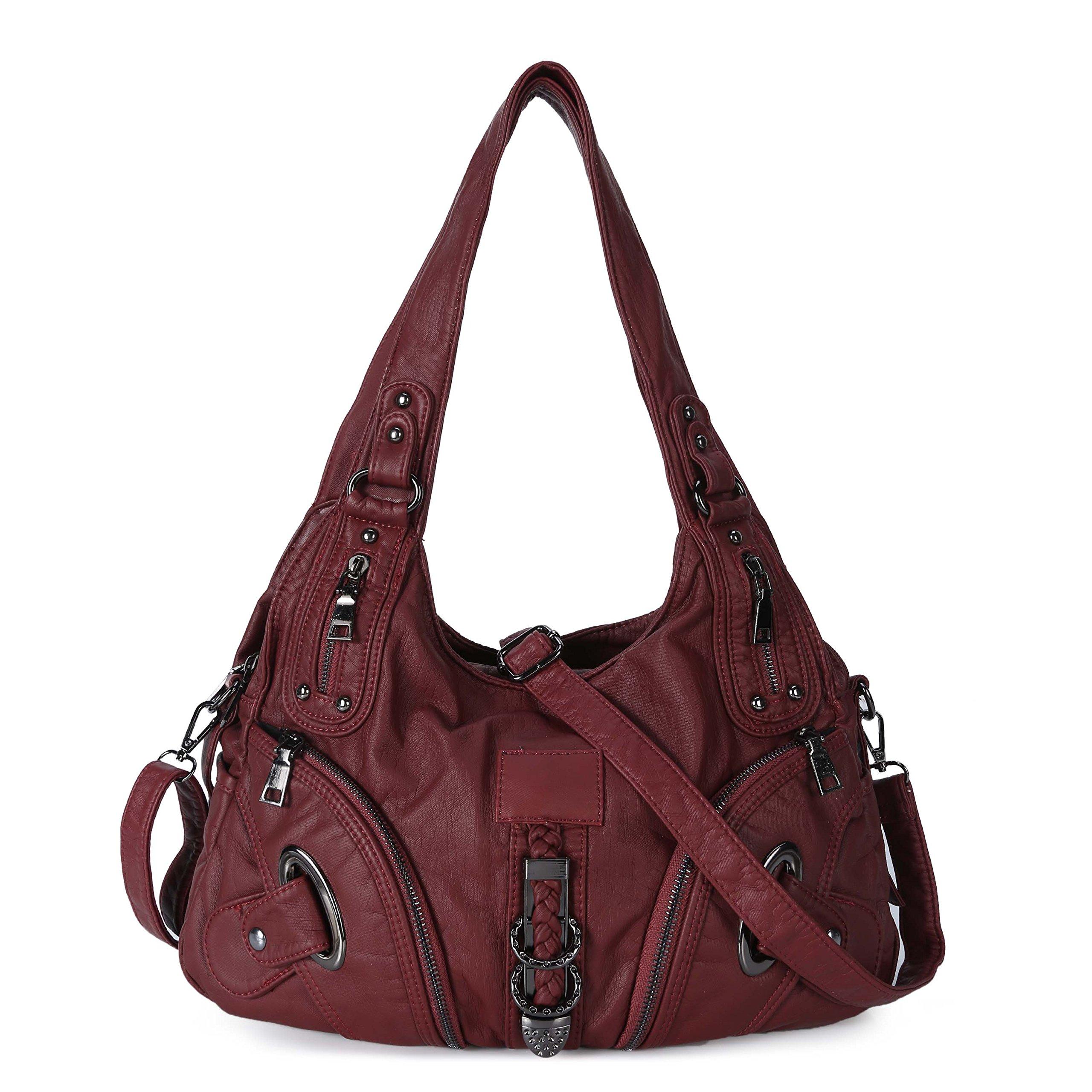 Women Soft Leather Handbag Large Capacity Crossbody Shoulder Bag for Ladies Convertible Hobo Purse Burgandy by Genold