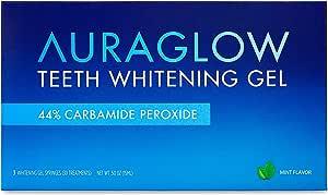 AuraGlow Teeth Whitening Gel Syringe Refill Pack, 44% Carbamide Peroxide, (3X) 5ml Syringes