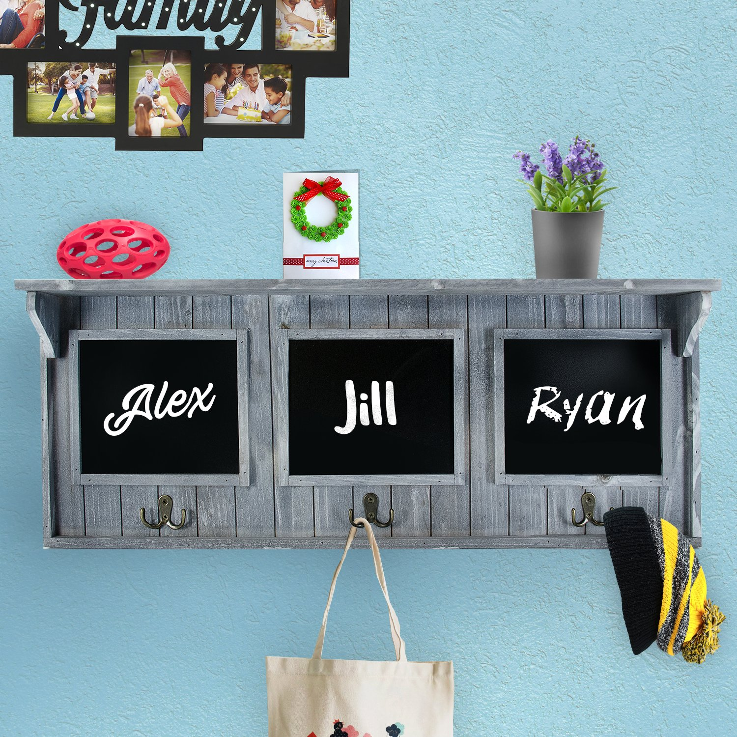 "Amazon.com: XL 32"" Entryway Chalkboard with Hooks for Coats, Key ..."