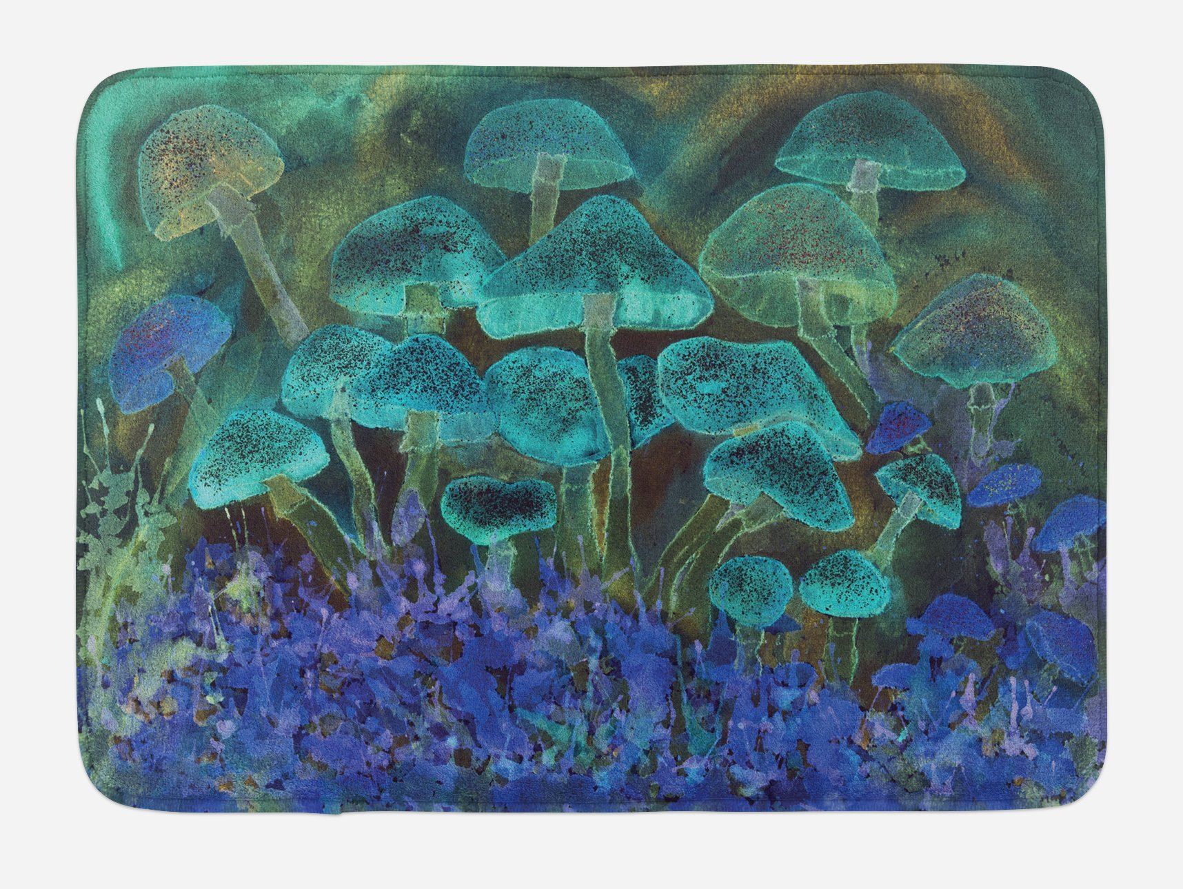 Ambesonne Psychedelic Bath Mat, Unusual Speckled Fluorescent Mushroom Figures Dreamy Fantasy Graphic, Plush Bathroom Decor Mat with Non Slip Backing, 29.5 W X 17.5 W Inches, Slate Blue Violet