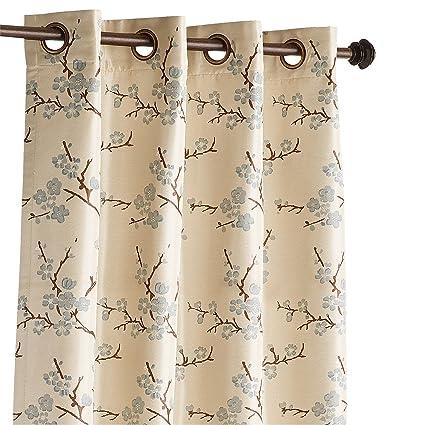 Pier 1 Imports Cherry Blossom Blue Grommet Top 84quot Curtain Window Treatment