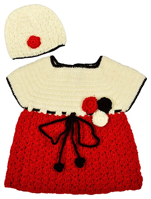 ad29445a8 Kuchipoo Baby Girl Hand Knitted Woollen Clothing Set (Red