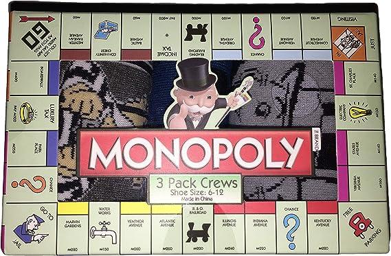 Planet Sox Monopoly - Juego de 3 pares de calcetines para adulto (talla 6-12): Amazon.es: Ropa y accesorios