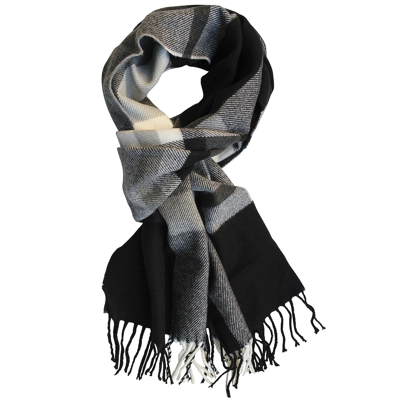 FERETI Echarpe Homme Noir Doux En Laine A Large Rayures Hiver Longue  Franges Mode  Amazon.fr  Vêtements et accessoires 71a1fd0338f