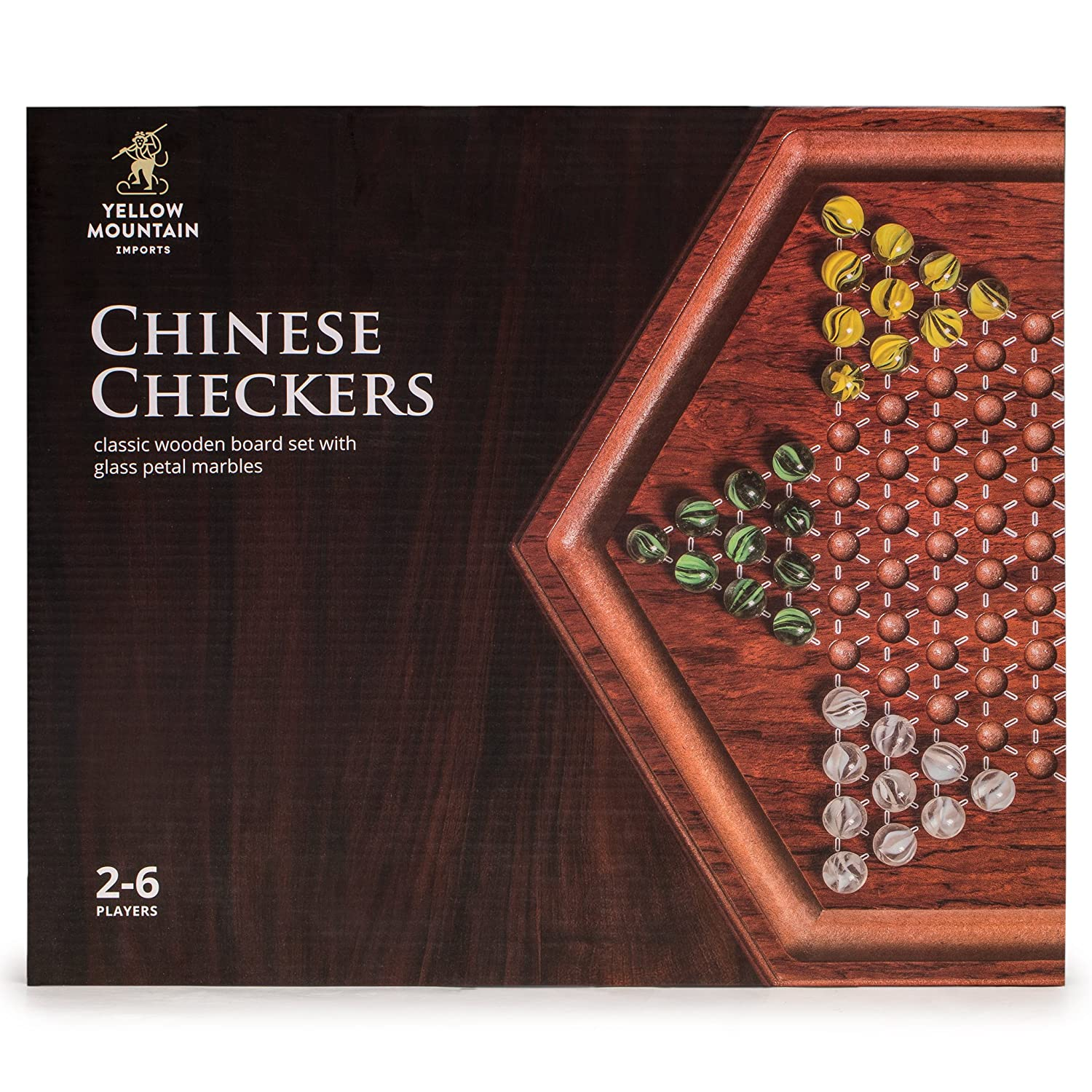 With 60 Colored Marbles Yellow Mountain Imports Wooden Chinese Checkers Game Set 11.75 Inches 16mm