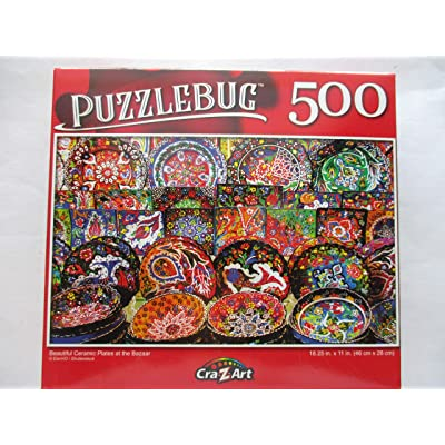 Beautiful Ceramic Plates at The Bazaar 500 Piece Puzzle: Toys & Games