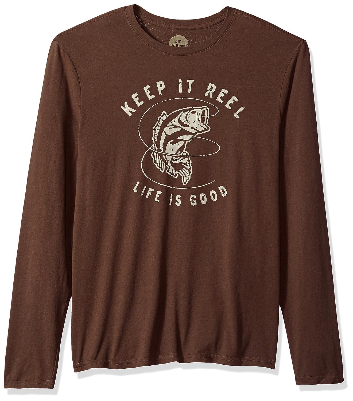 Life is Good Mens Long Sleeve Smooth Tee Keep It Reel Bass Rchbrn T-Shirt,