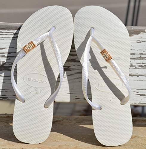 147e121fbf0 Image Unavailable. Image not available for. Color  Wedding Flip Flops ...