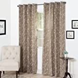 Semi Sheer Grommet Style Curtains - Floral Embroidered Pattern Window Curtain Panel for Living Room Bedroom, 95 x 54 Inch by Lavish Home (Taupe)