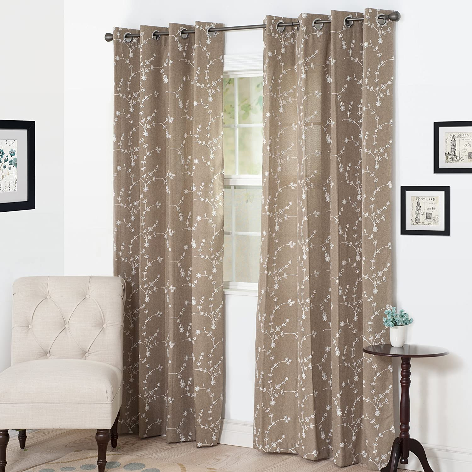Semi Sheer Grommet Style Curtains - Floral Embroidered Pattern Window Curtain Panel