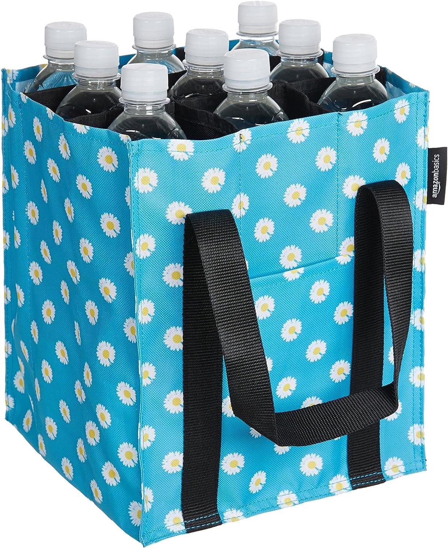 AmazonBasics - Bolsa para botellas, 9 compartimentos, botellas de 0,75 l, Azul impreso