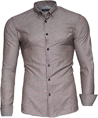 Kayhan Camisas Hombres Camisa Hombre Manga Larga Ropa Camisas de Vestir Slim fácil de Hierro Fit SML XL XXL-6XL Modello - Oxford