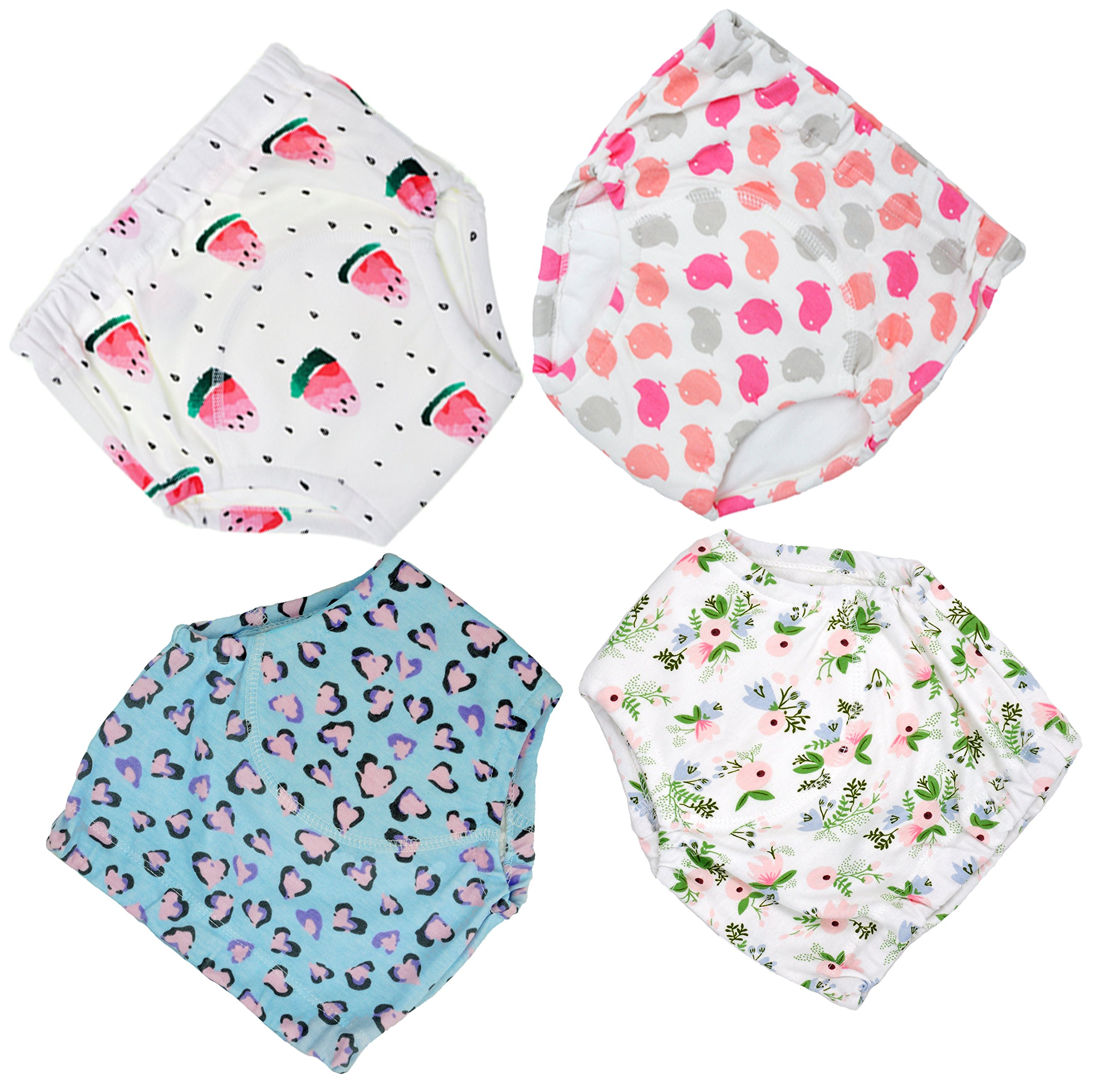 4 Pack Potty Training Pants Padded Underwear For Mom N Bab Dress White Polkadot Size 3t Moomoo Baby And Toddler Girls L