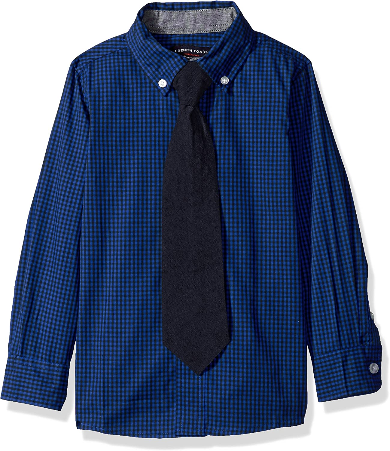 French Toast Boys Toddler Long Sleeve Dress Shirt with Tie Rush of Blue 2T