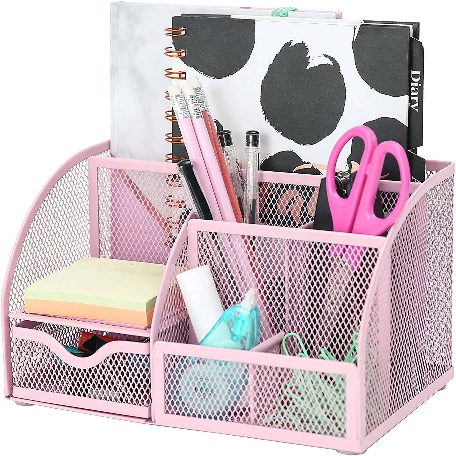 Exerz Mesh Desk Organizer Office with 6 Compartments + Drawer/Desk Tidy Candy/Pen Holder/Multifunctional Organizer (EX348-LPK)
