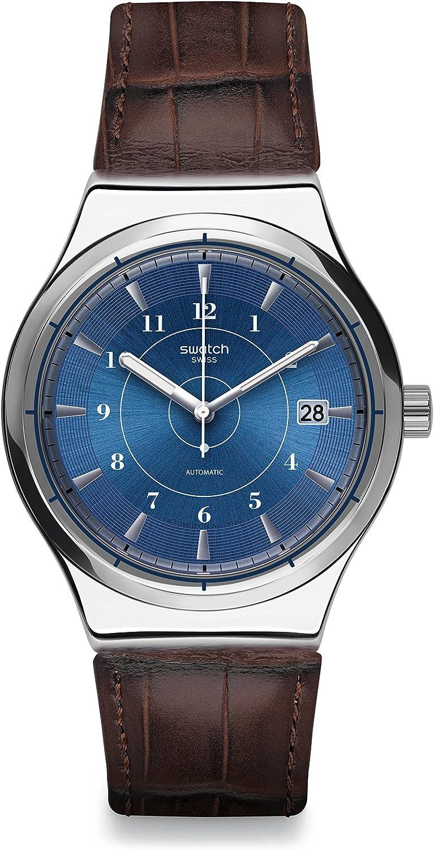 Swatch Reloj Digital para Hombre de Cuarzo con Correa en Cuero YIS404