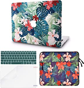 "KECC Laptop Case for MacBook Air 13"" Retina (2020/2019/2018, Touch ID) w/Keyboard Cover + Sleeve + Screen Protector (4 in 1 Bundle) Plastic Hard Shell Case A1932 (Palm Leaves Red Flower)"