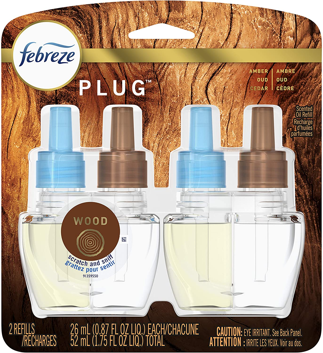 Febreze Plug in Air Fresheners, Wood, Odor Eliminator, Scented Oil Refill, 2 Count