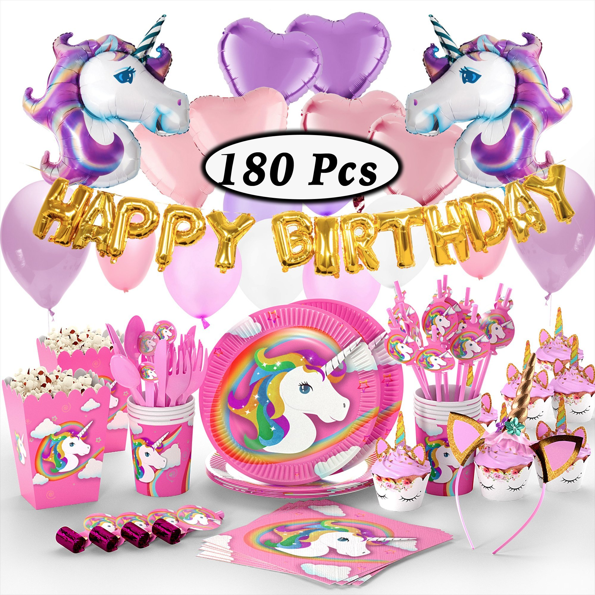 180+ PCS Complete Unicorn Party Supplies & Decorations - Glittery Unicorn Headband | Disposable Tableware Set | 30 Magical Balloons | 24 Pc Unicorn Cupcake Wrappers & Toppers | Party Favors by Party Supply Pros