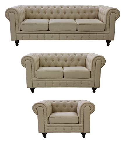 US Pride Furniture S5071 3PC Linen Fabric Chesterfield Sofa Set, Beige