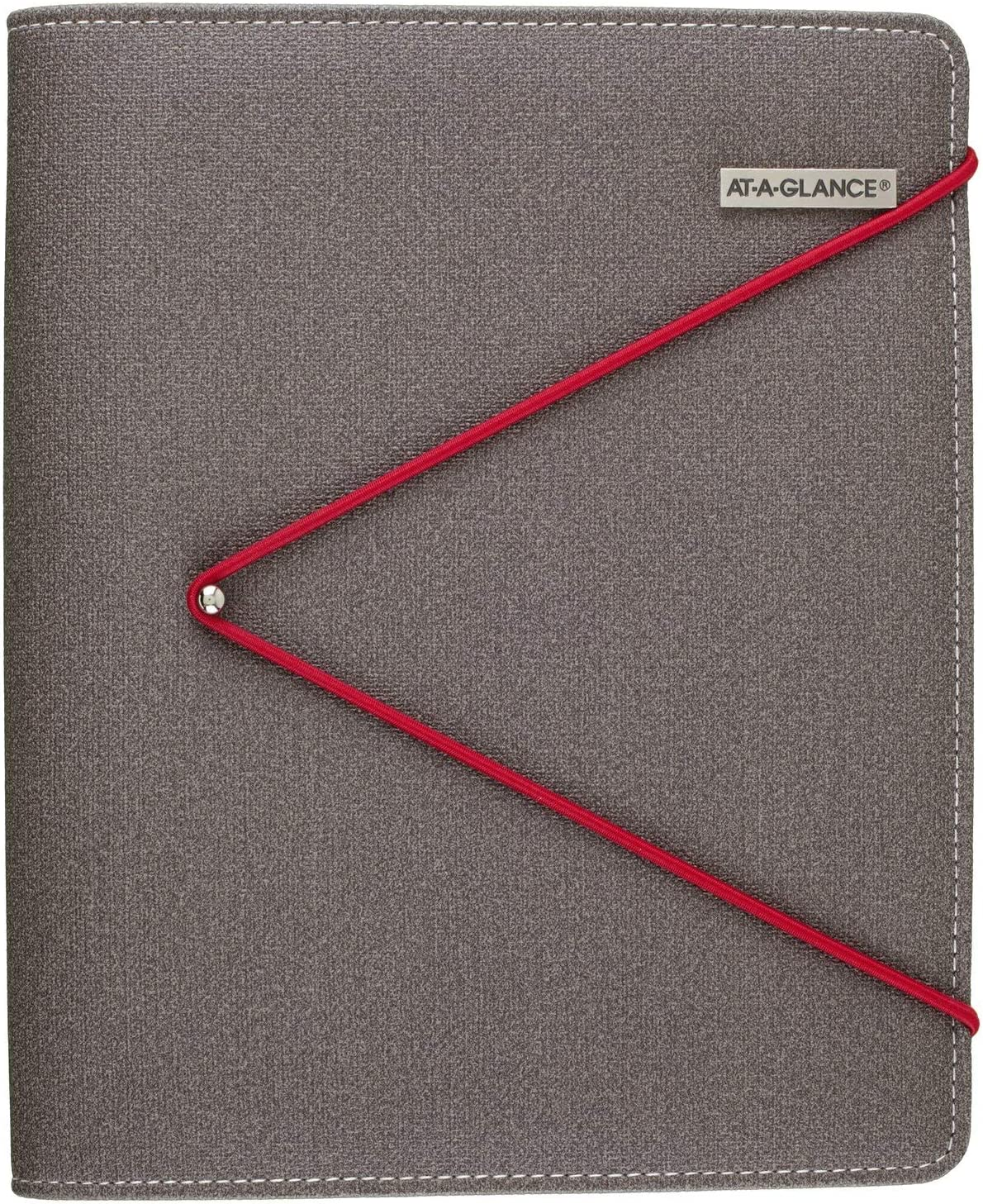 """AT-A-GLANCE Faux Leather Undated Starter Set, Tread Spine, 7-Ring, 5-1/2"""" x 8-1/2"""", Desk Size, Red Bungee Closure, Fashion, Gray (DR1107-040-13)"""