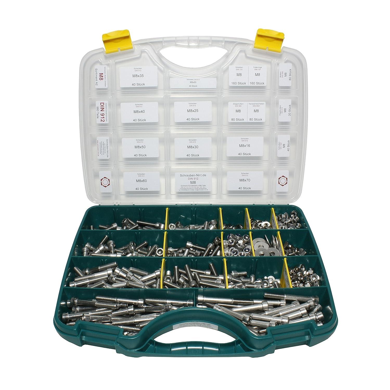 980-teiliges Set M8 Edelstahl Zylinderschrauben mit Innensechskant (DIN 912), Sortimentskasten inklusive Unterlegscheiben (DIN 125/127 / 9021) und Muttern (DIN 315/934 / 985/1587), Material A2 / V2A schrauben-niro.de ®