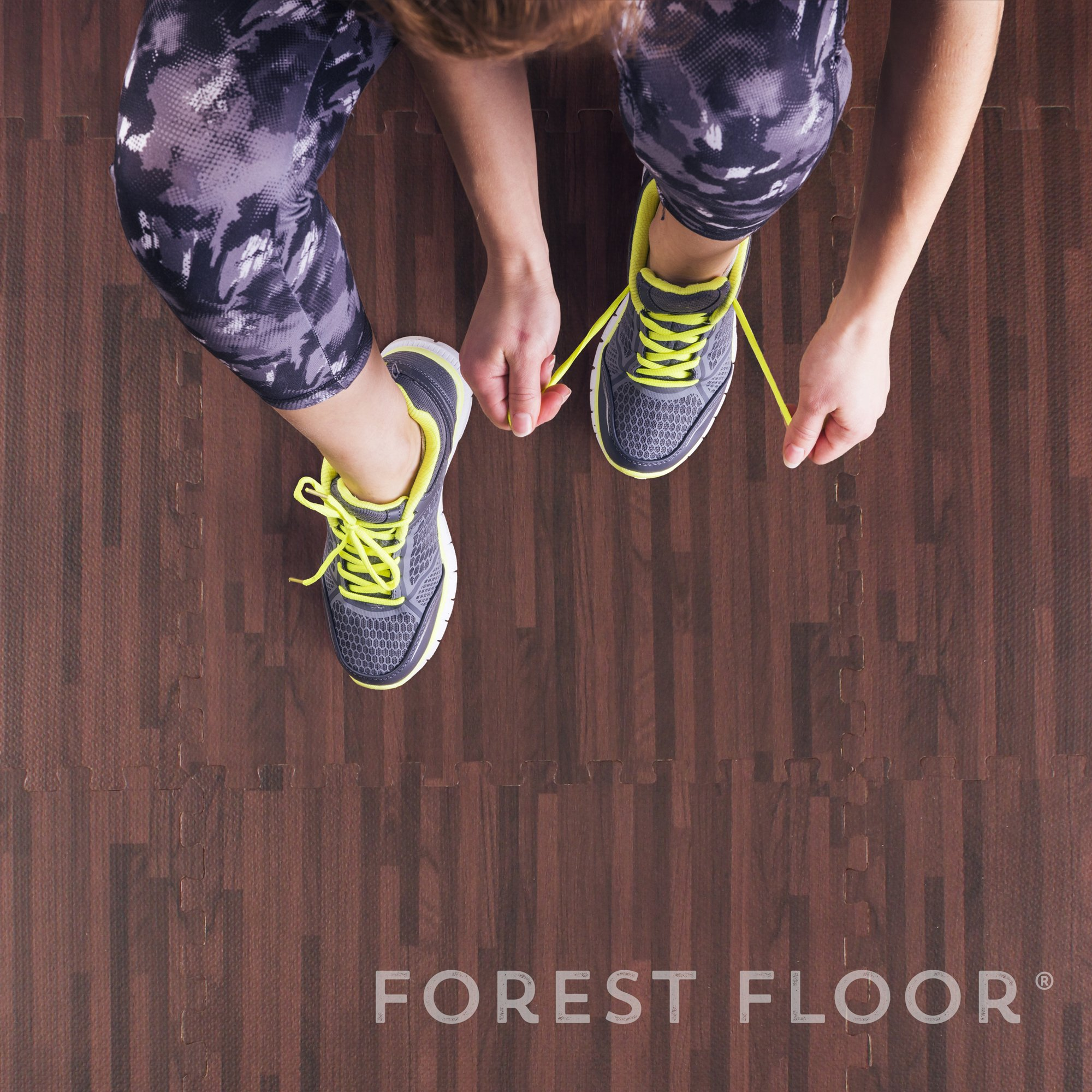 Forest Floor 3/8'' Thick Printed Wood Grain Interlocking Foam Floor Mats, 16 Sq Ft (4 Tiles), Cherry by Forest Floor (Image #6)