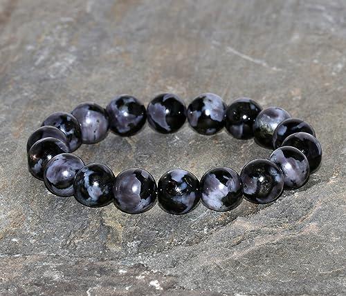 Chunky Gabbro Beaded Bracelet 10mm Igneous Rock Beaded Gemstone Bracelet Black Gray Beaded Stacking Bracelet Gift Bracelet Unisex Bracelet