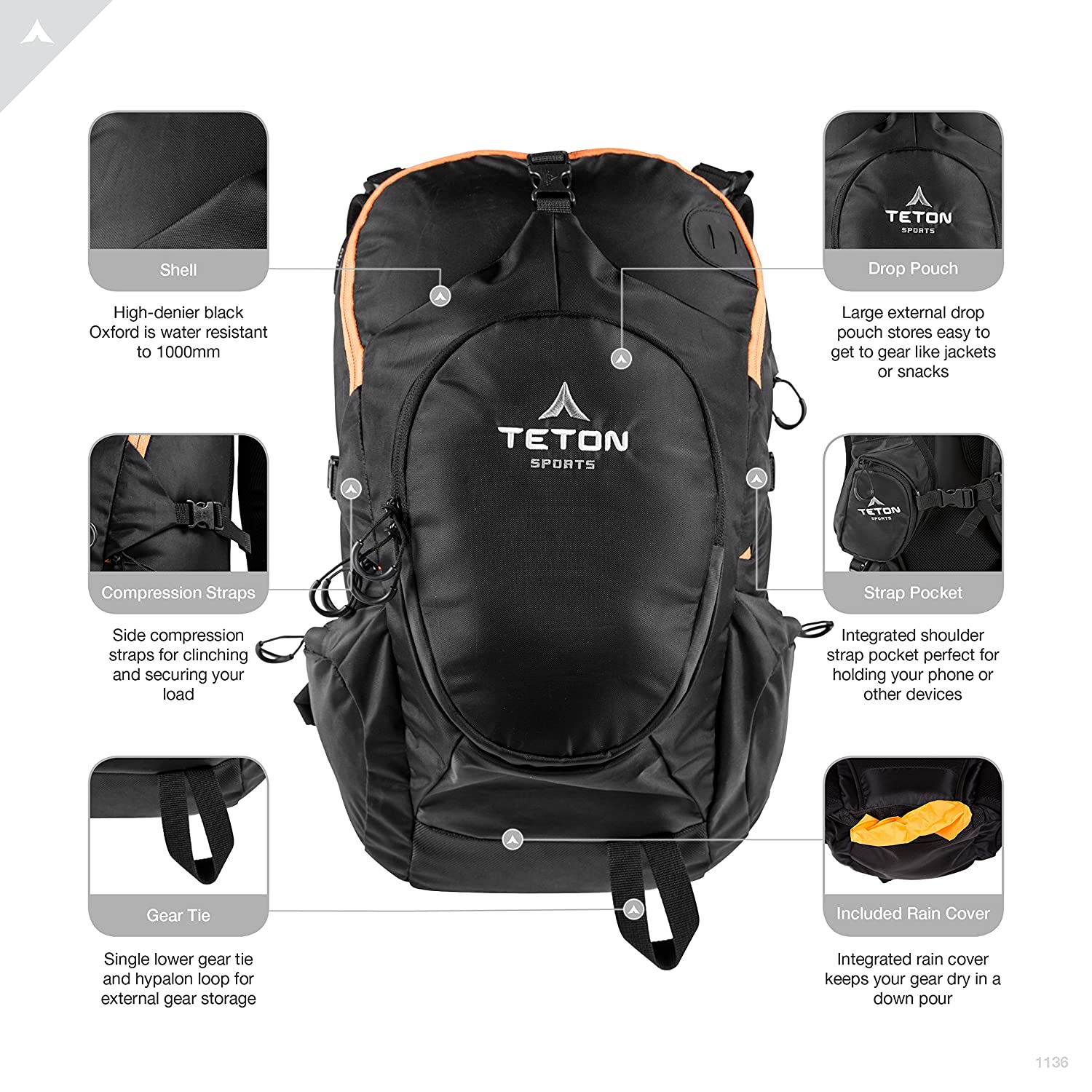 TETON Sports Rock 1800 Backpack; Lightweight Daypack; Hiking Backpack for Camping and Outdoor Sports; Sewn-in Rain Cover; Be Prepared for Those Unplanned Trips 1136 Travel Hunting