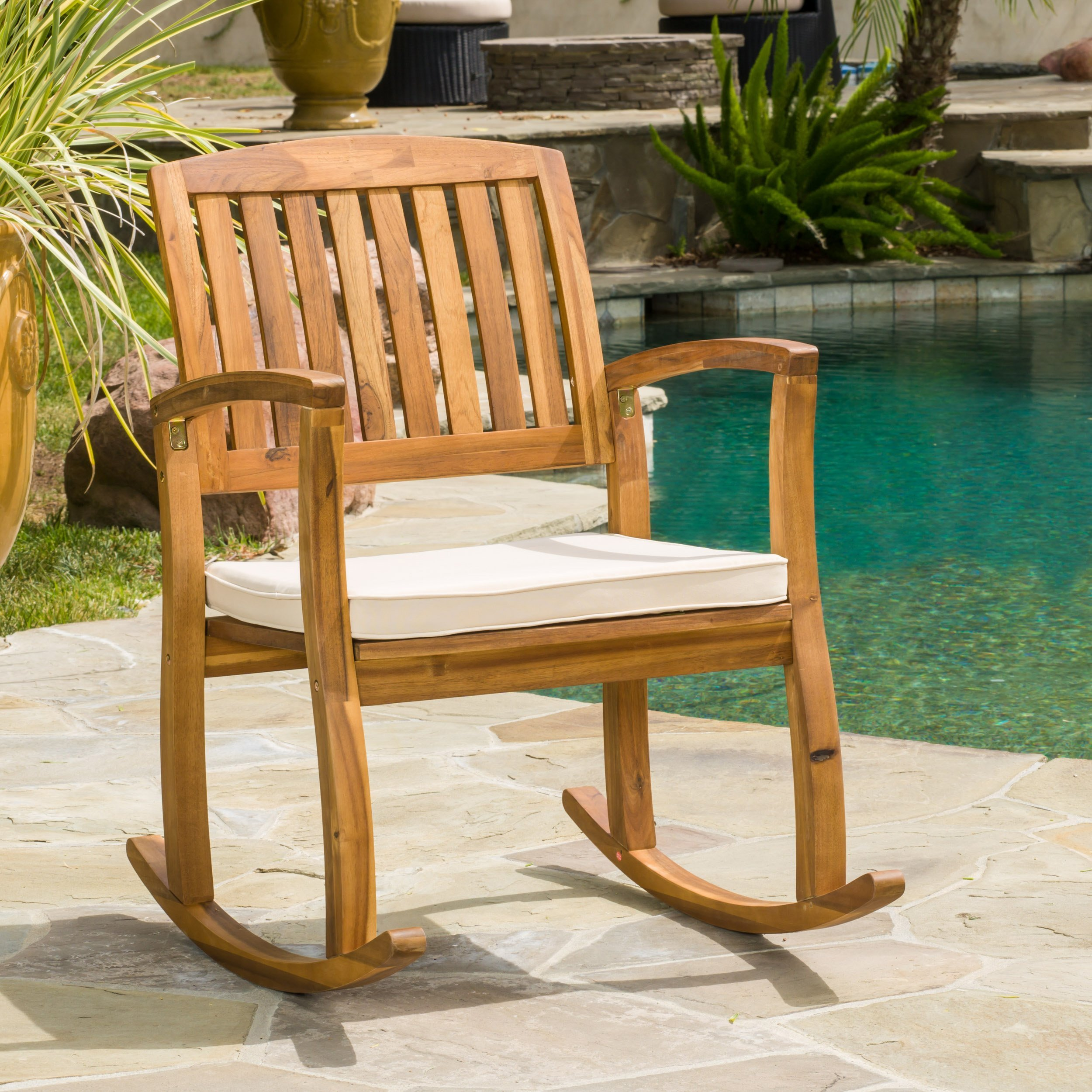 Sadie Outdoor Acacia Wood Rocking Chair with Cushion by Christopher Knight Home