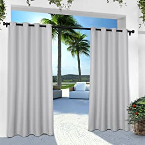 Exclusive Home Curtains Indoor/Outdoor Solid Cabana Grommet Top Curtain Panel Pair, 54x108, Cloud Grey, 2 Piece,EH8112-06 2-108G