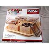 Nayasa Sofia Square DryFruit Set (4 Containers with Lid & 1 Serving Tray)