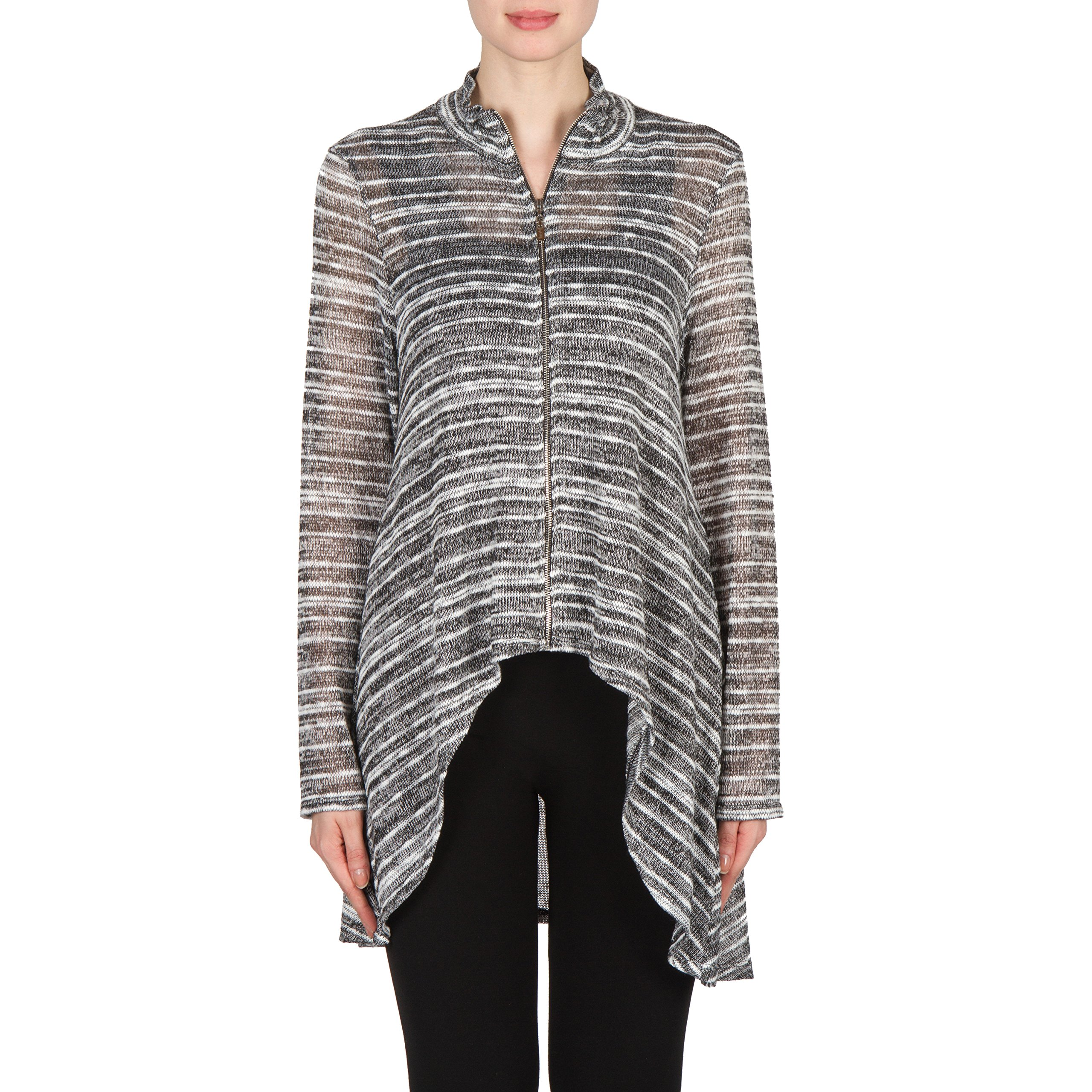 Joseph Ribkoff Zip Front Light-Weight Knit Top With High-Low Hem Style 173904 Size 14
