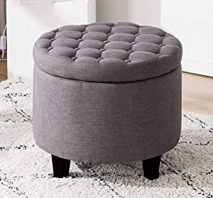 Legend Furniture Round Chesterfield Style Fabric Ottoman Bench With Large Storage Space for living room/bedroom Sectional, dark grey