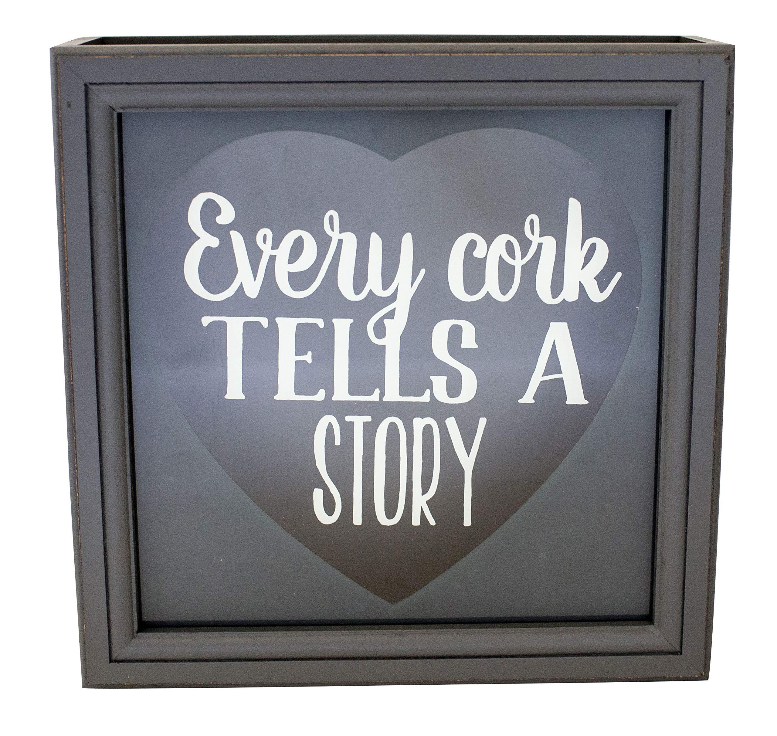 Shadowbox Wine Cork Holder Every Cork Tells A Story 10-Inch Gray by Boston Warehouse